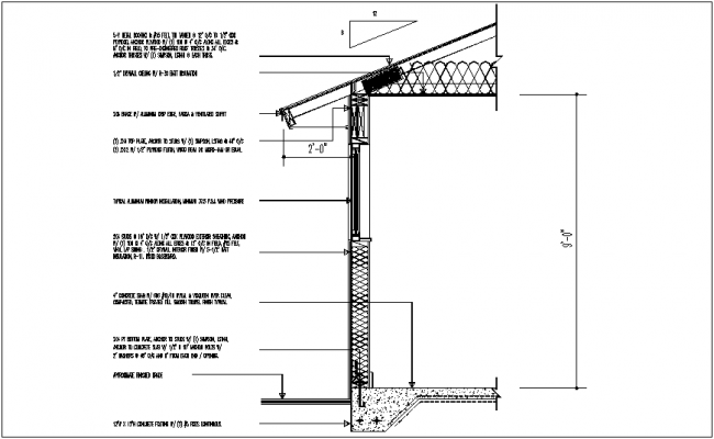 construction view of sectional view of wall and floor dwg file