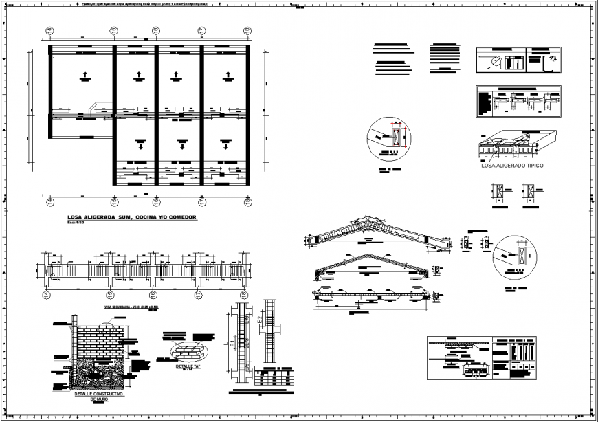 Construction detail of institute drawing in dwg file.