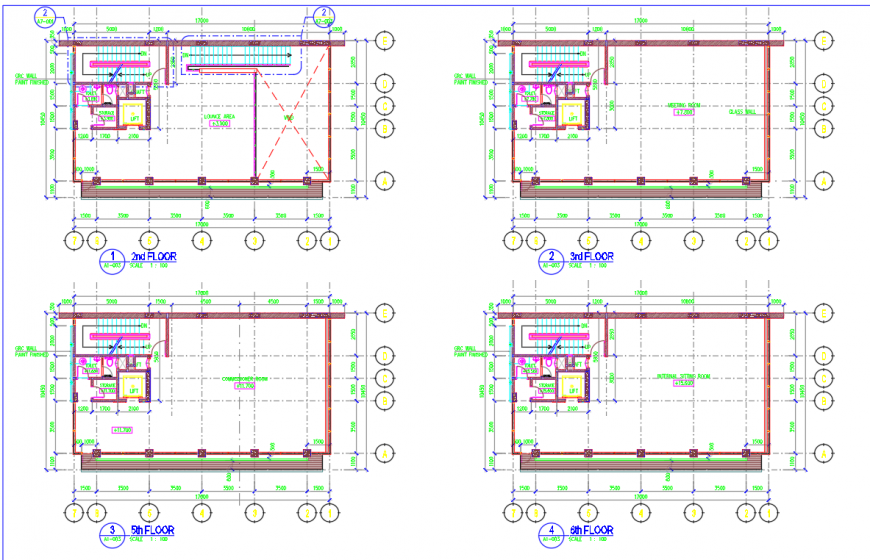 Construction detail of the hotel layout plan in dwg AutoCAD file.