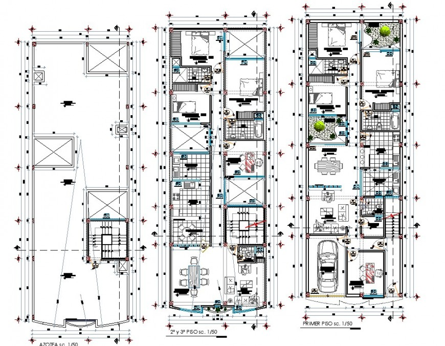 Construction layout plan of the row house plan in dwg AutoCAD file.
