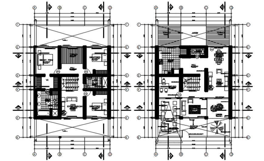 Construction plan drawings of house 2d view layout AutoCAD file