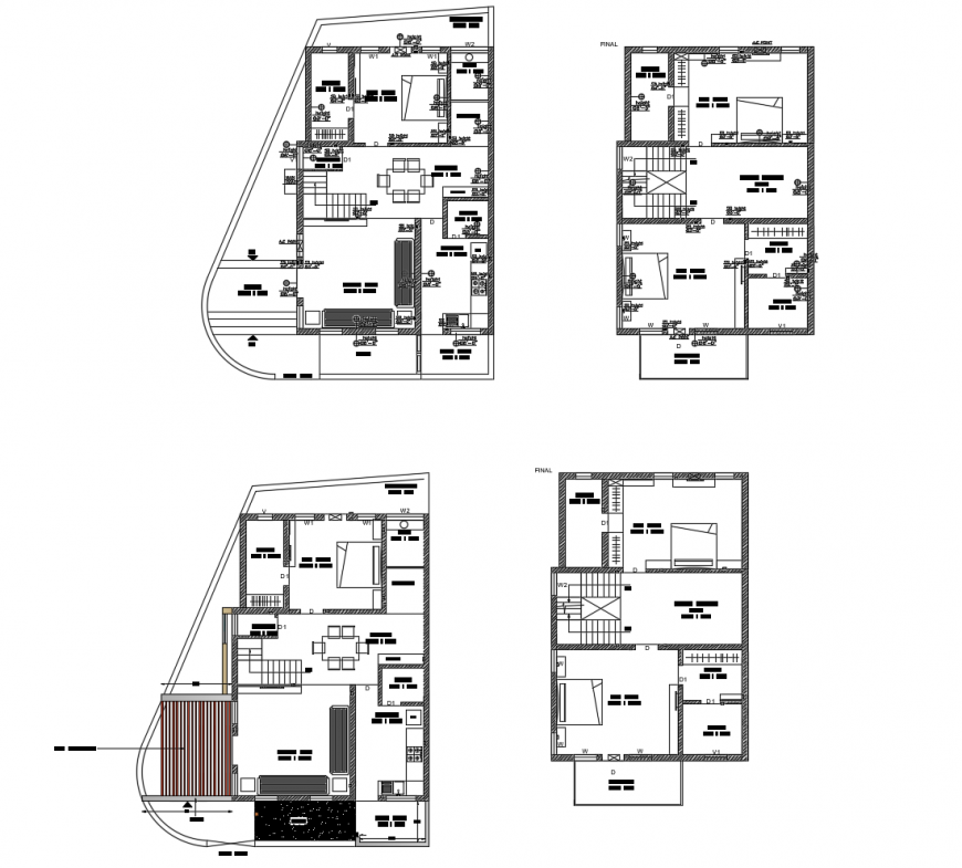Construction plan of house 2d view layout autocad file