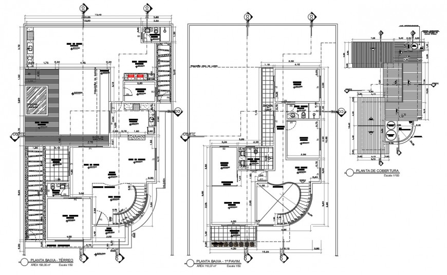 Construction plan of house detail 2d view layout file in dwg format