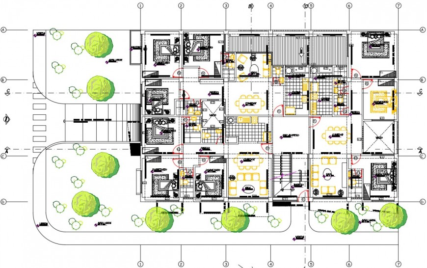 Construction plan of housing apartment flats details in autocad software file