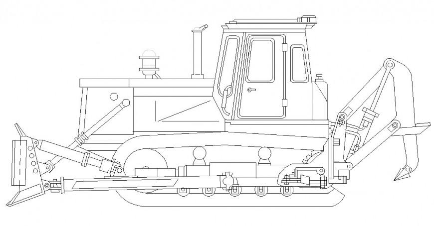 Construction site vehicle 2d detail front view design dwg file