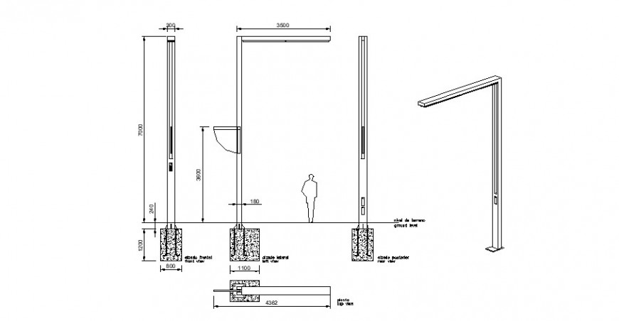 Construction unit detail 2d view CAD block layout file in dwg format