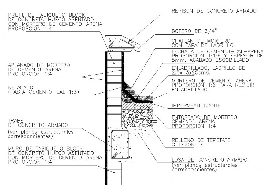 Construction view of column section view in autocad file