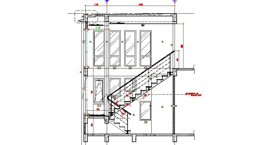 Constructive facade sectional drawing details of house dwg file