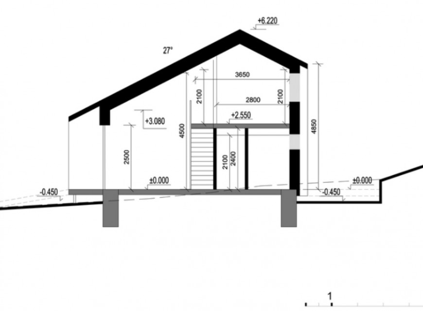 Constructive front section drawing details of small house 3d model skp file