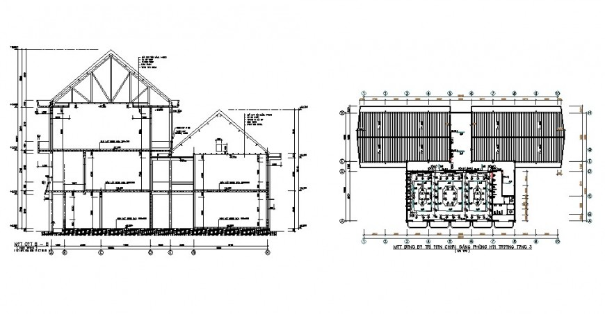 Constructive section and foundation details of house building dwg file