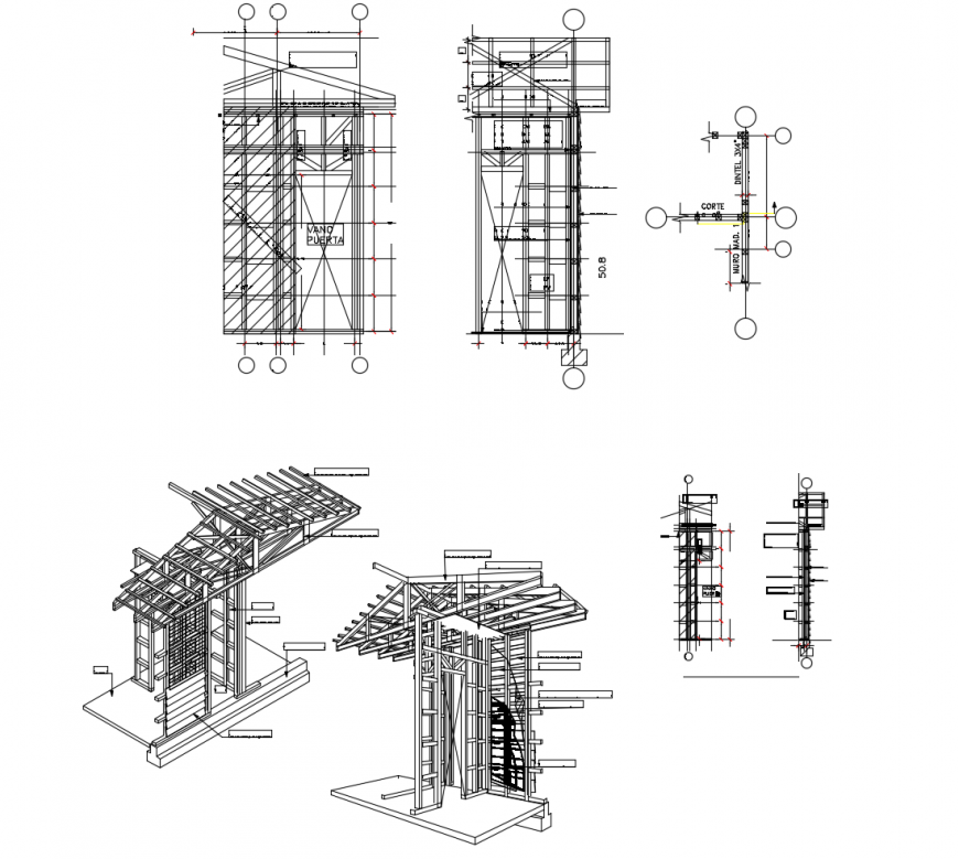 Constructive section and roof structure details of house dwg file