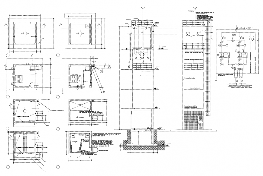 Constructive section and structure details of hospital building dwg file