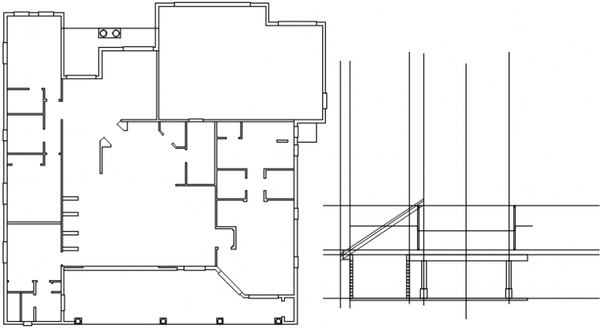 Constructive section and structure plan details of house dwg file