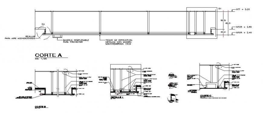 Constructive section details of office building with ceiling dwg file