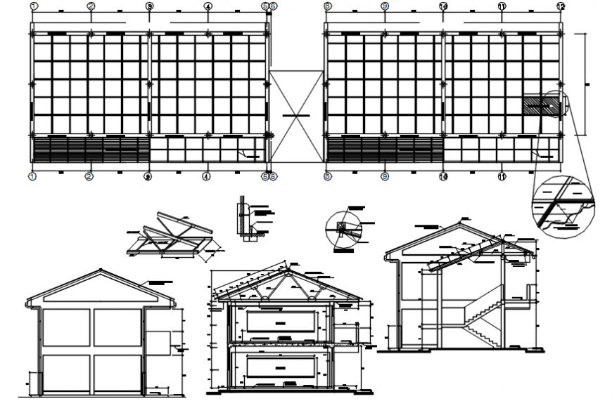 Constructive section drawing details of classrooms dwg file
