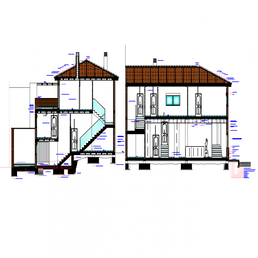 Constructive section house plan autoacd file