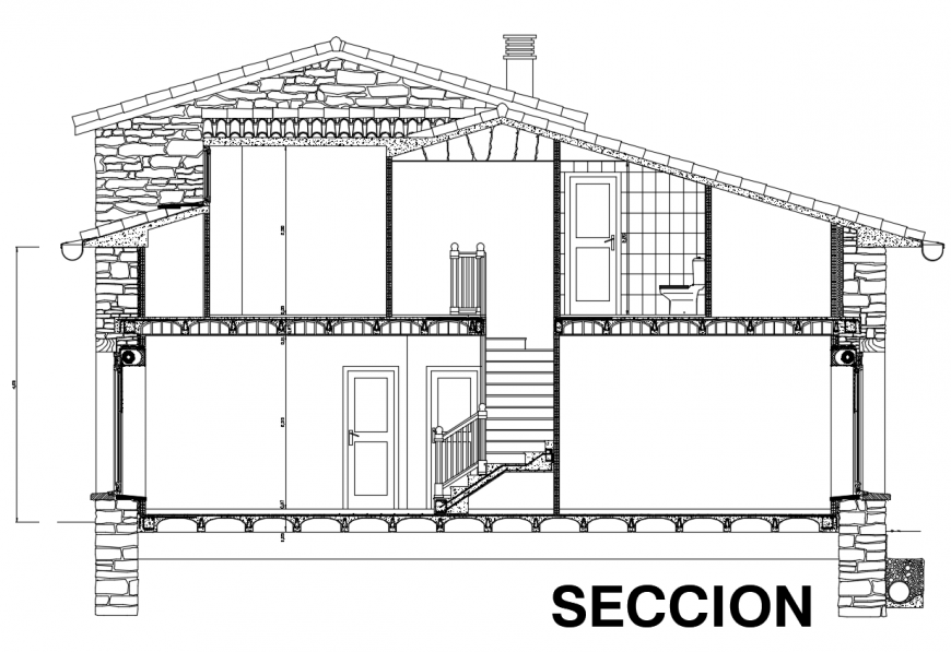 Constructive section of re habitation section view dwg file