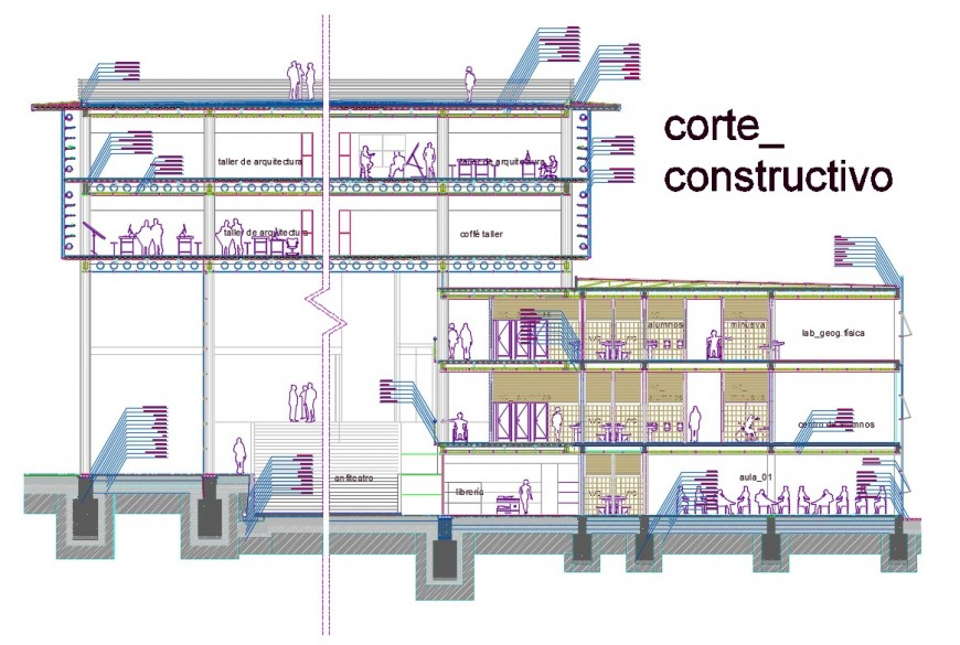 Constructive sectional details of college building dwg file
