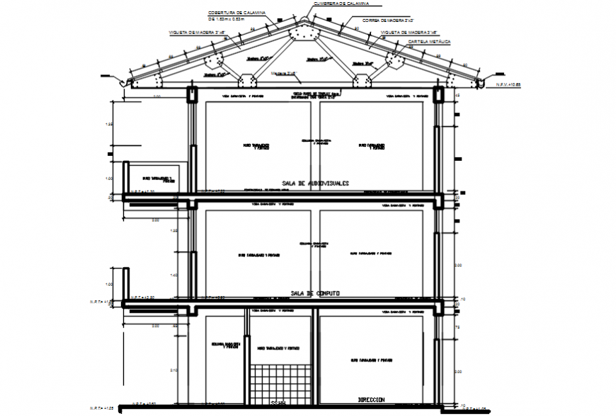 Constructive sectional drawing details of primary school dwg file