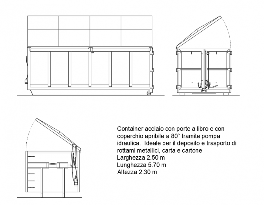 Container cassone cartone vehicle tool box for architectural design dwg file