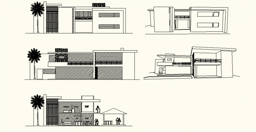 Contemporary style bungalow design drawing in dwg AutoCAD file.