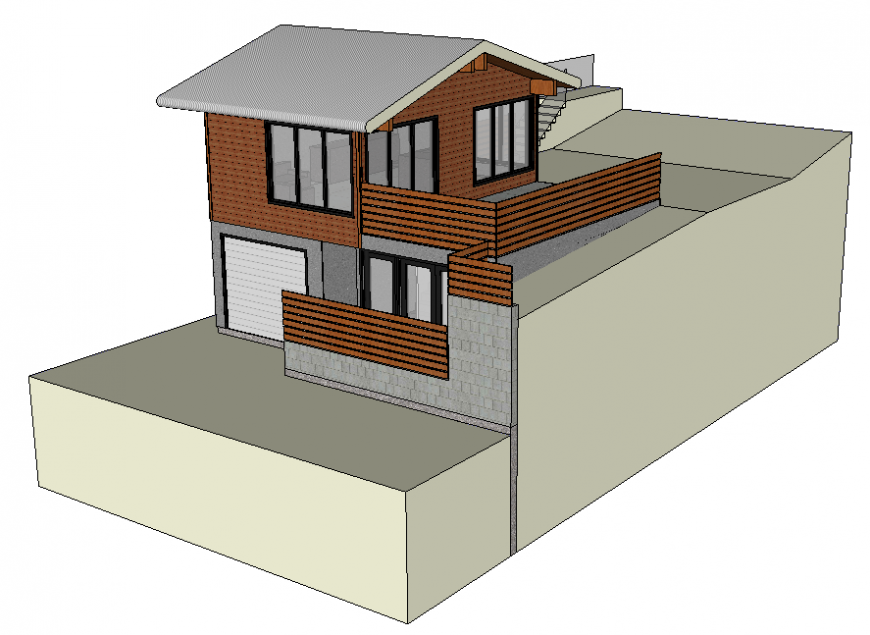 Contemporary two level 3d house elevation cad drawing details dwg file