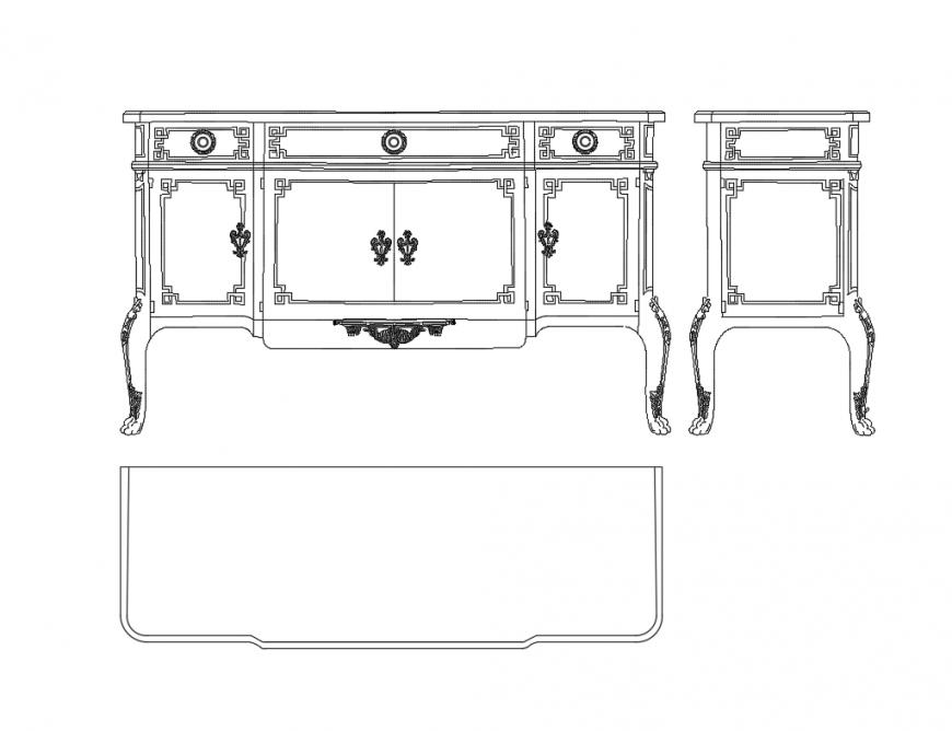 Continental long wooden cabinet cad blocks details dwg file