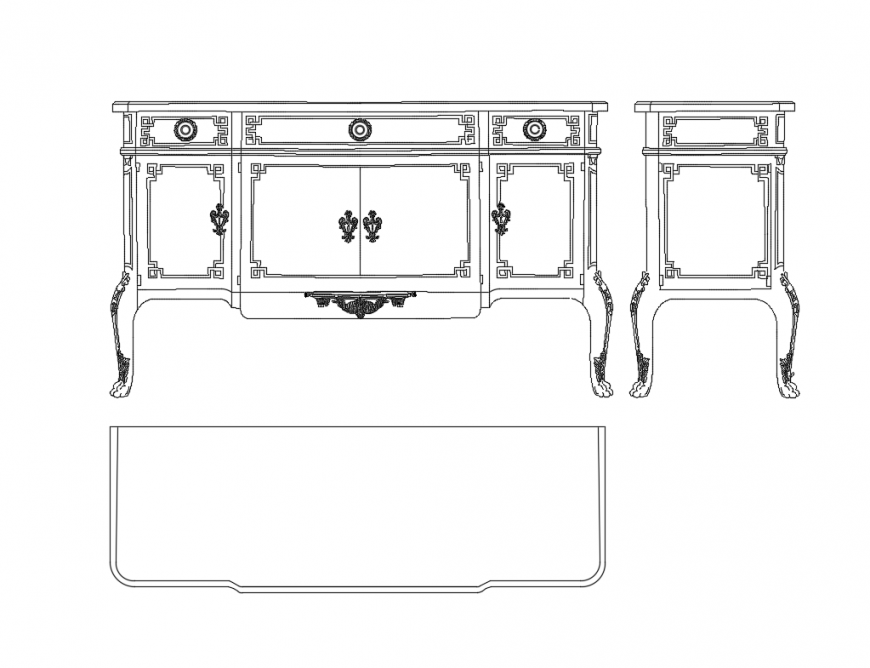 Continental long wooden drawing room cabinet cad block design dwg file