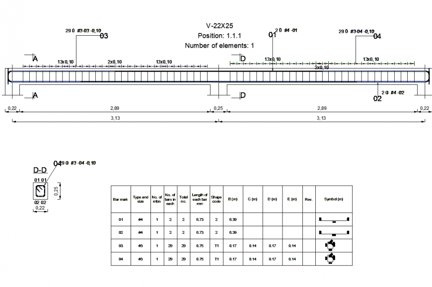 Continuous beam detail elevation 2d view CAD structure layout file