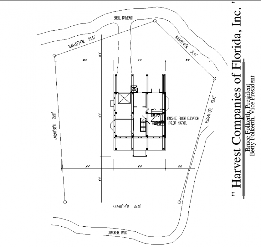 Contour drawing with bungalow plan in dwg file.