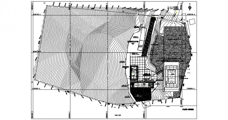 Contour mapping with sports grounds 2d view autocad file
