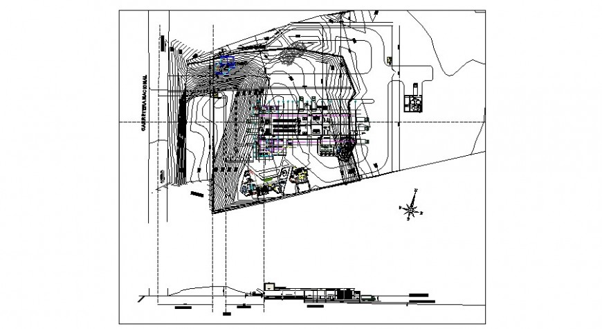 Contour planning and building elevation drawing 2d view dwg file