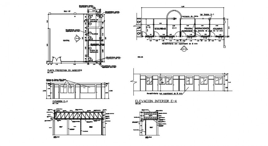 Control room of airport elevation, section and plan drawing details dwg file