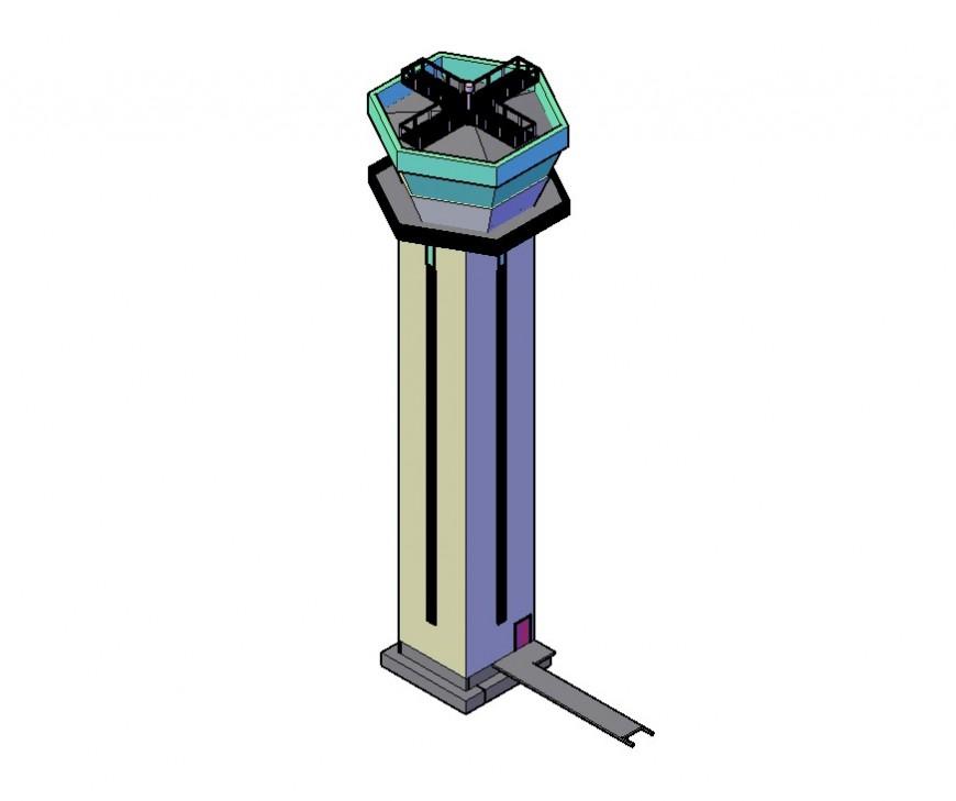 Control Tower building structure detail 3d model CAD block autocad file