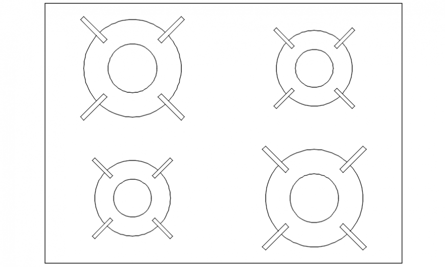 Cooking stove for kitchen with its detail in AutoCAD file