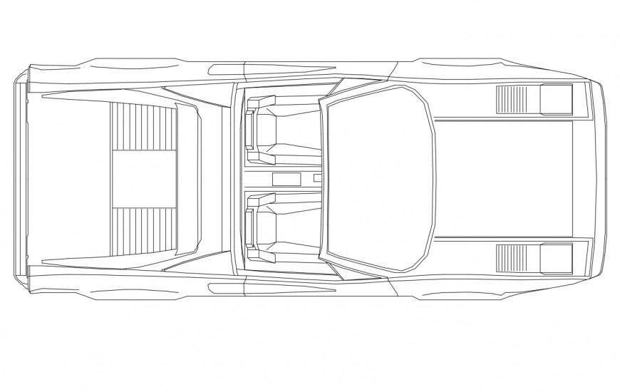 Cool luxuries car top view elevation cad block drawing details dwg file
