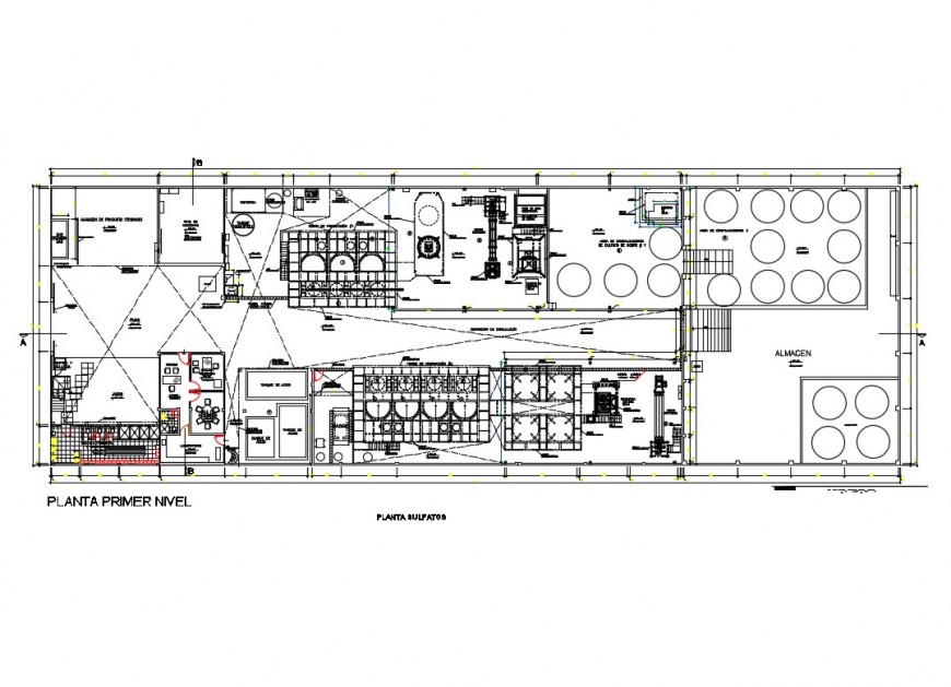 Copper sulfate processing plant first floor plan cad drawing details dwg file