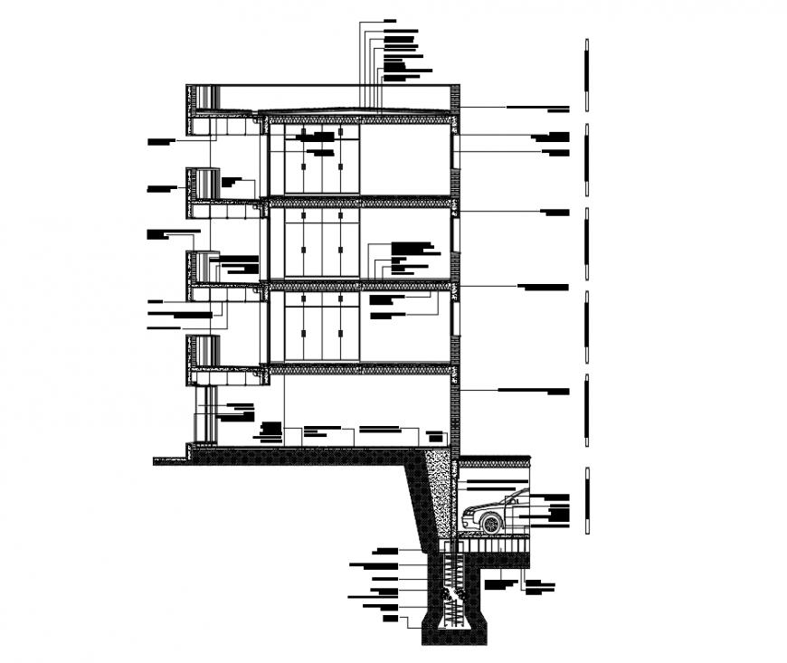 Cordoba housing multi flooring sectional constructive details dwg file