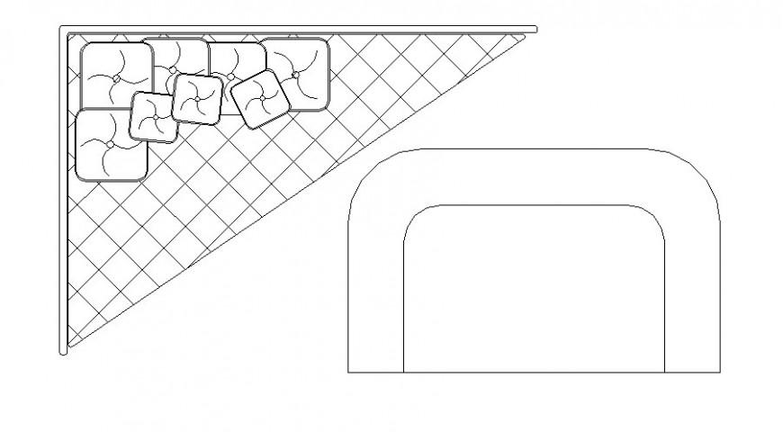Corner sofa set top view elevation block cad drawing details dwg file