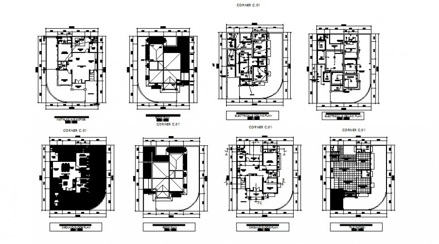 Corner type house floor plan and electrical layout plan details dwg file