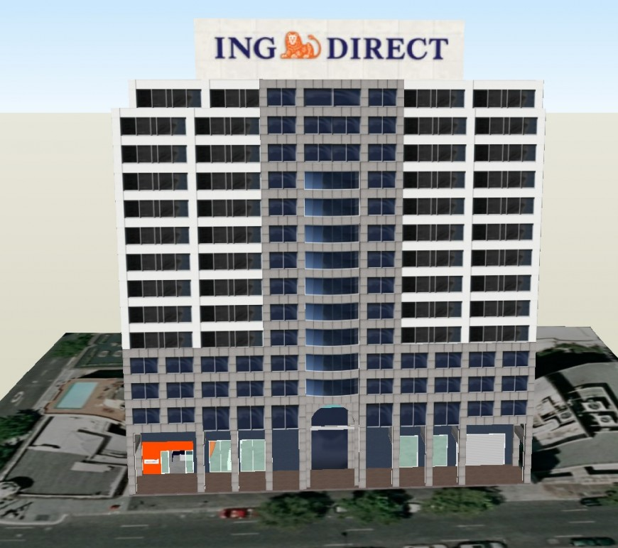Corporate building 3d view in sketch up file