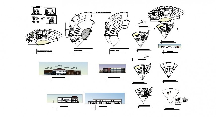 Corporate building elevations, sections and floor plan cad drawing details dwg file