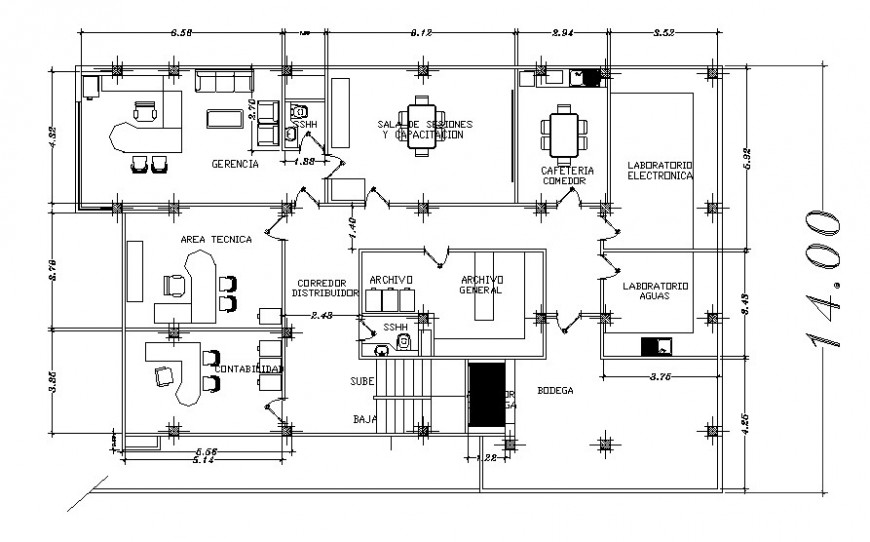 Corporate building first floor plan with furniture cad drawing details dwg file