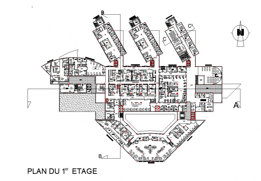 Corporate building first floor planning layout file