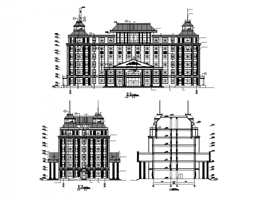 Corporate building front elevation  design dwg file