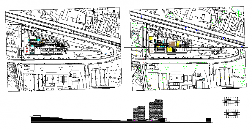 Corporate building park with different office in dwg file.