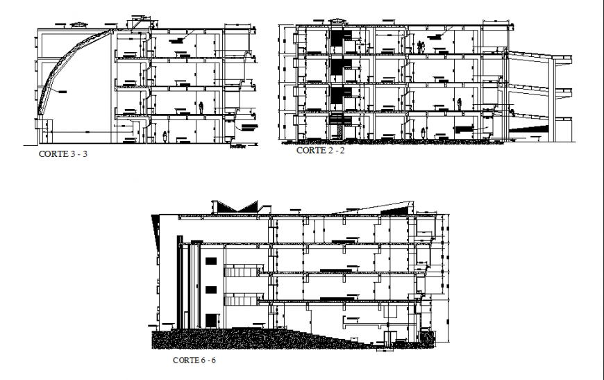 Corporate building section detail in dwg file.