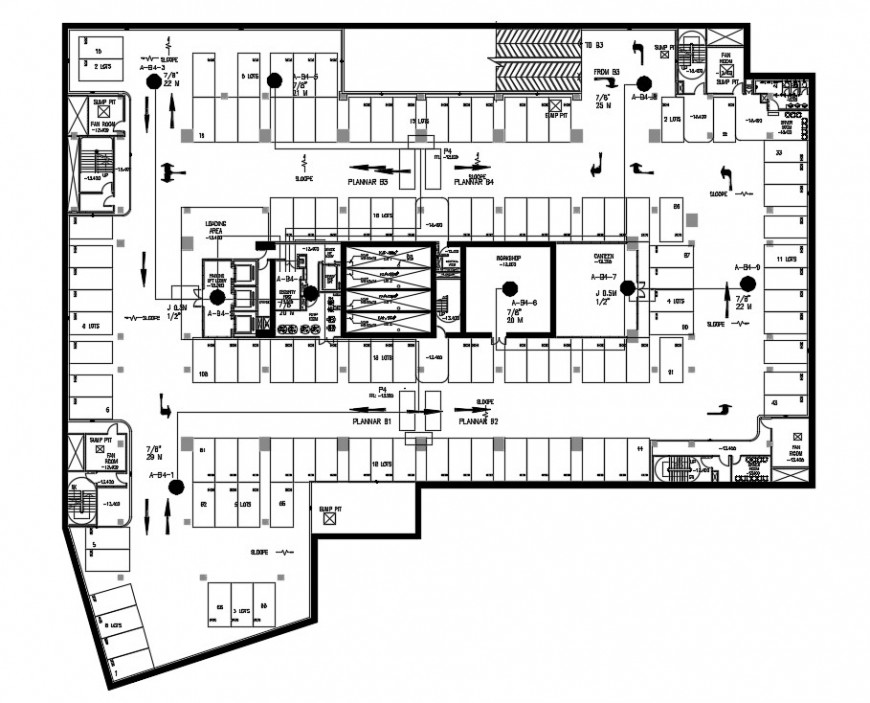 Corporate building shop and office layout plan cad file