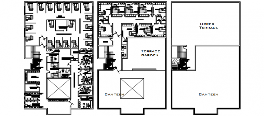 Corporate new office building floor and terrace plan cad drawing details dwg file