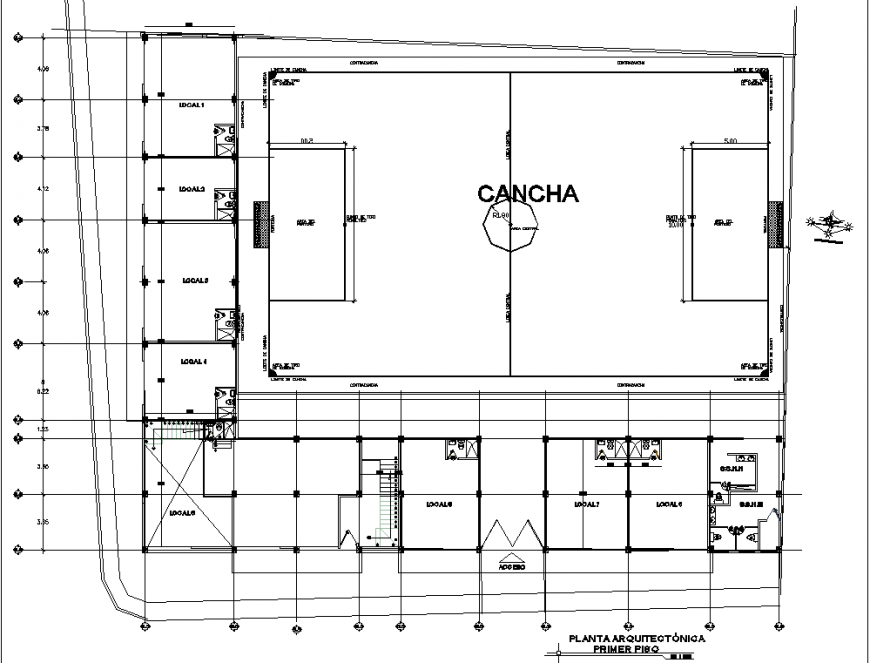 Corporate office and shop building plan drawing in dwg file.